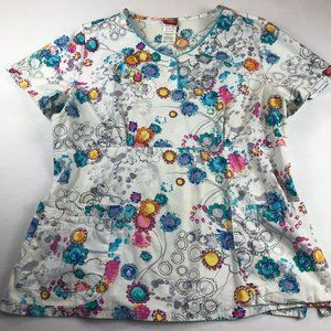 Dickies Womens Scrub Top Size XL Abstract Floral Watercolor